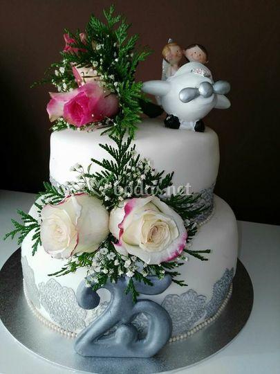Tarta boda de plata
