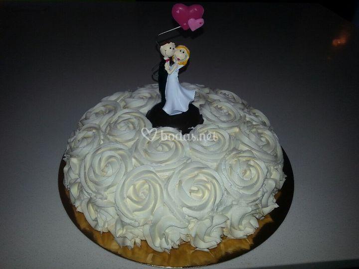 Tarta de flores crema