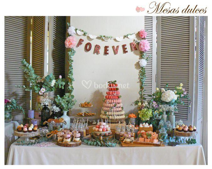 Mesa dulce boda en Campo Aniba