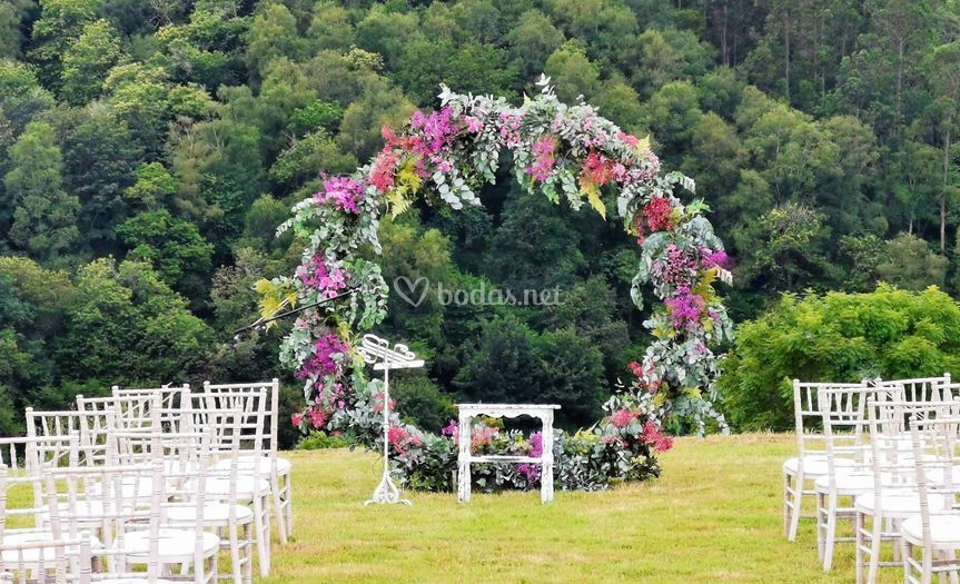 Ceremonia civil, arco floral
