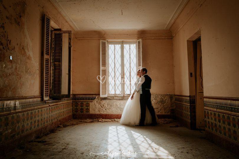 Boda romántica en casa antigua