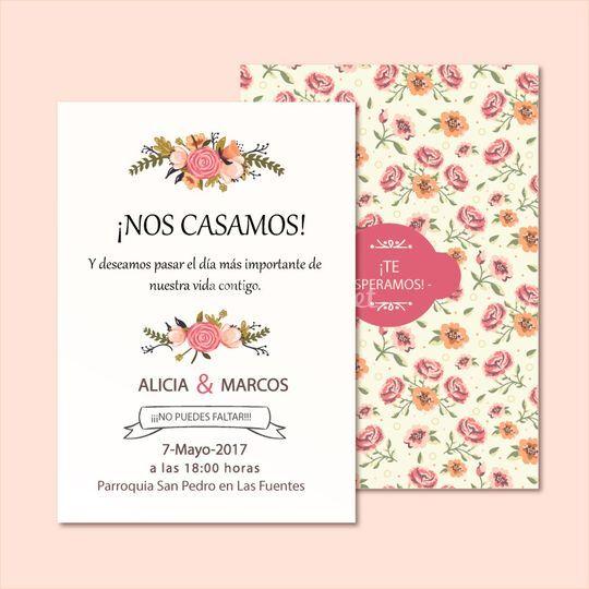 Invitación vintage floral