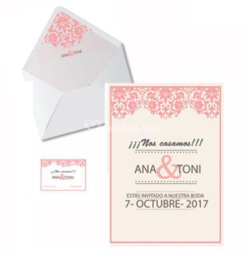 Invitación, sobre y tarjeta