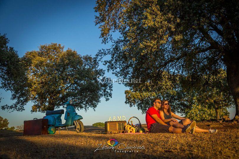 Camping al atardecer