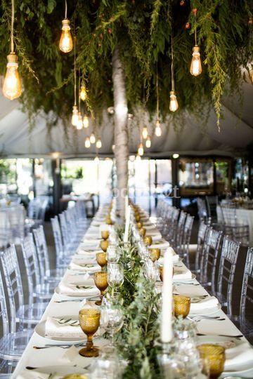 Mesa con jardín y lámparas