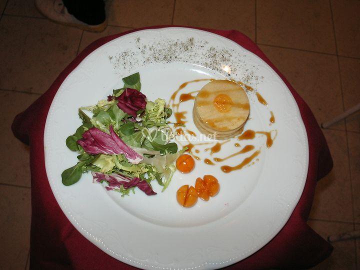 Milhoja de manzana y foie con reduccion de Px