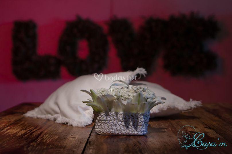 Cojín de flores para anillos