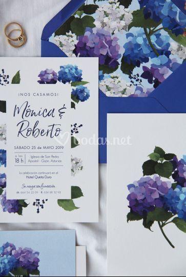 Invitación hortensia