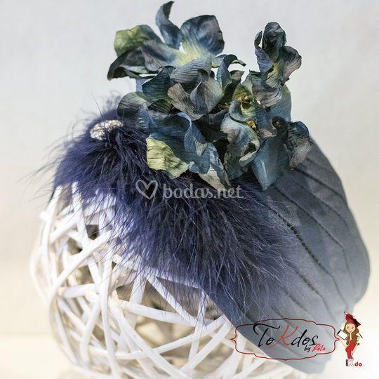 Turbante con flor de tela