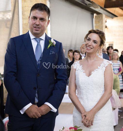 Los novios en la boda