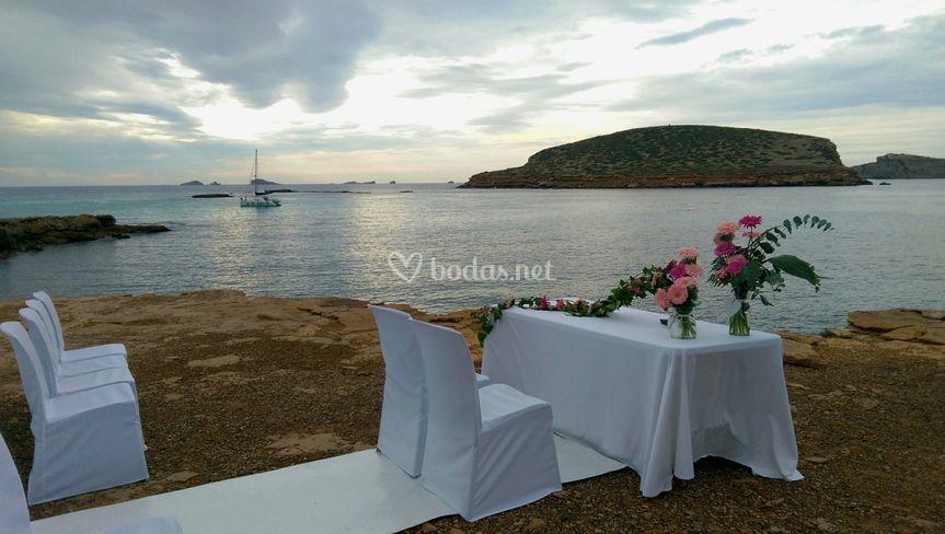 Ceremonia enfrente del mar