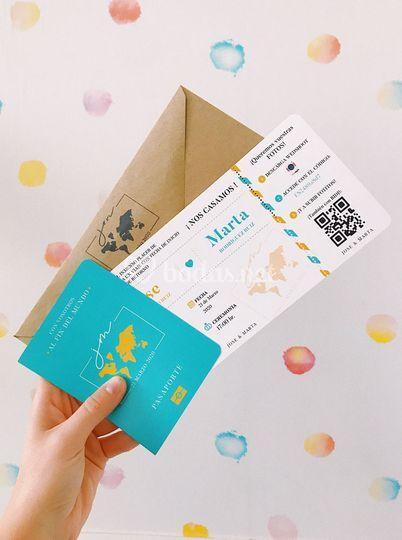 Invitación ticket y pasaporte