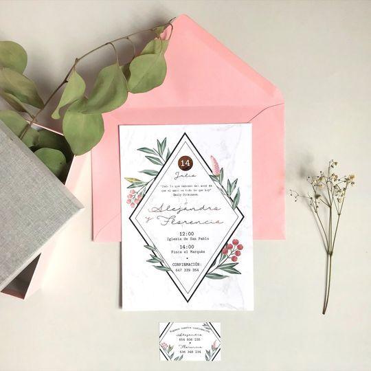 Invitación floral superior