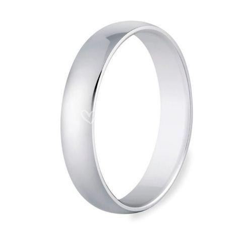 Alianza de boda de oro blanco 9K brillo