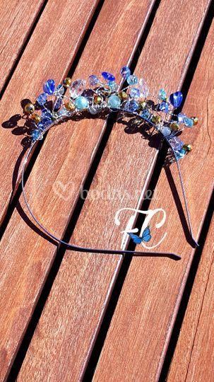 Diadema cristales azules