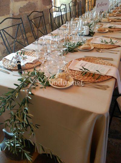 Decoración olivo mesas