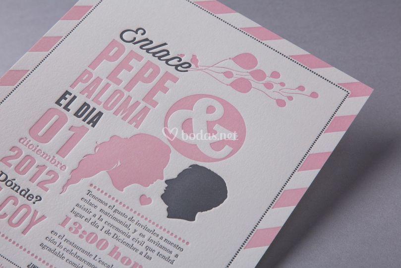 Invitaciones con detalles en rosa