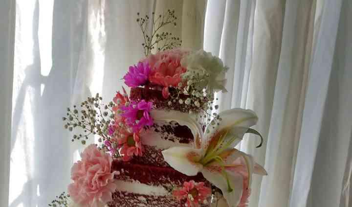 Tarta desnuda flores