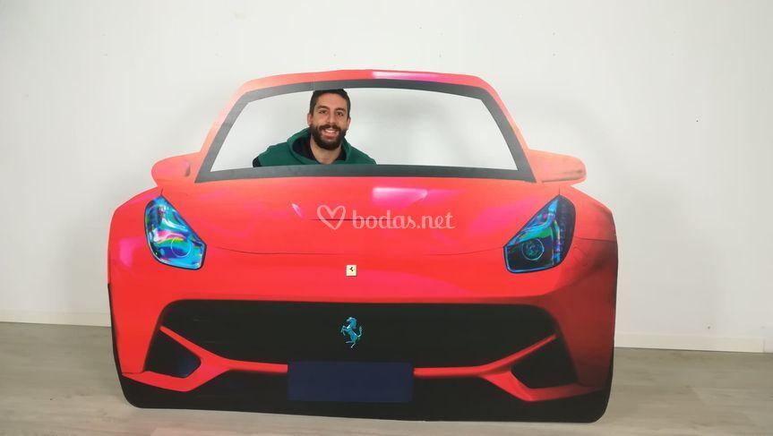Photocall de coche rojo