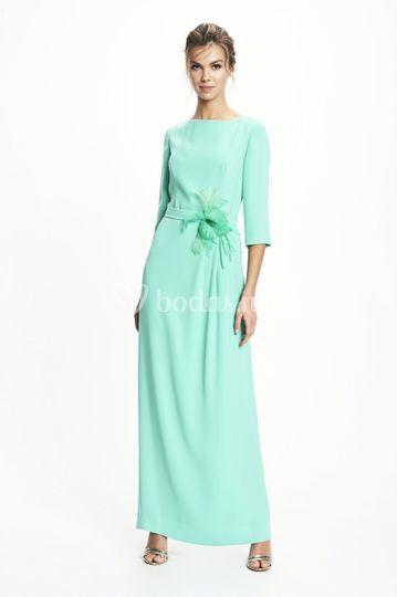 Vestido largo doble crepe