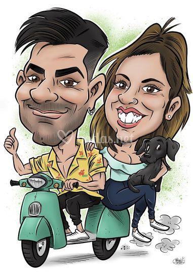 Caricatura pareja
