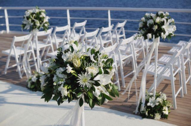 Detalle de la decoración para la ceremonia