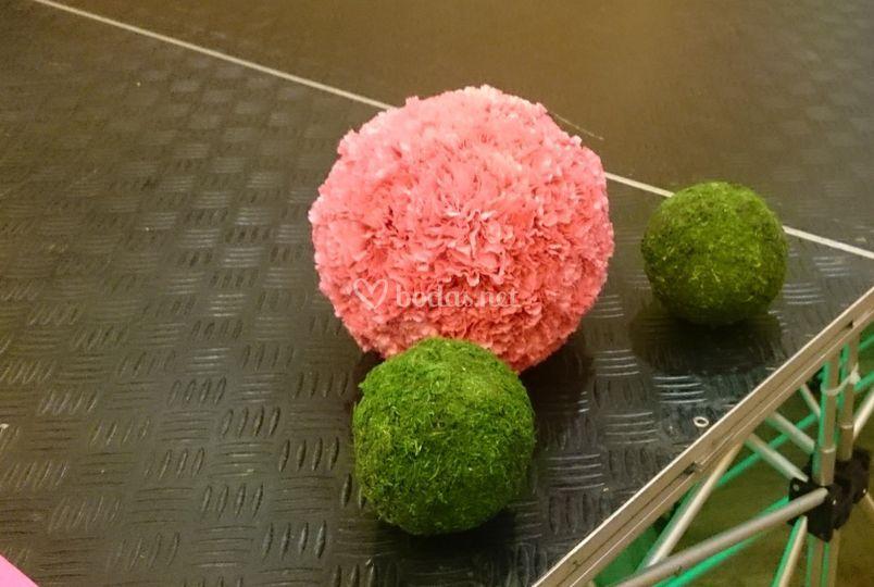 Esferas de clavel y musgo