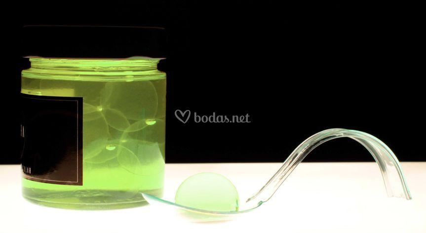 Esferificación gin melón