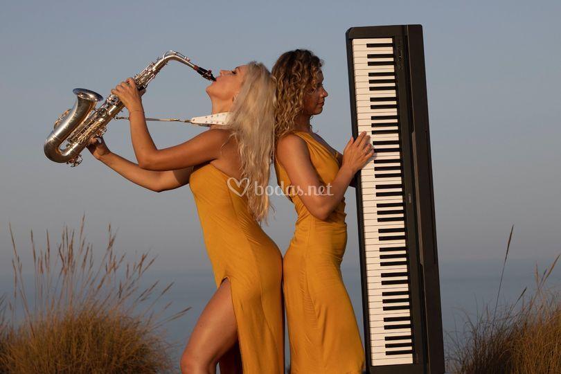 Piano eléctrico y saxofón