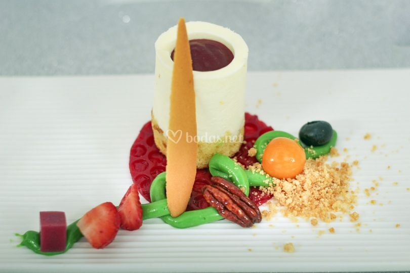 Timbal de mascarpone con frutos rojos