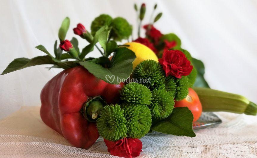 Verduras y clavelinas