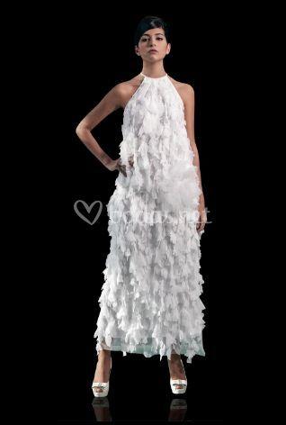 Vestido de novia plumas
