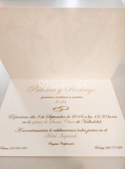 Diseño invitación, interior