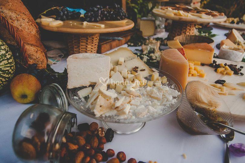 Detalle de la mesa de quesos