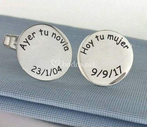 Gemelos plata grabados