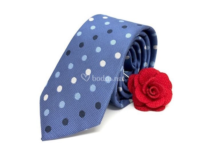 Corbata azul topos