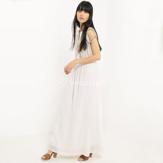 Vestido largo liso, sin mangas