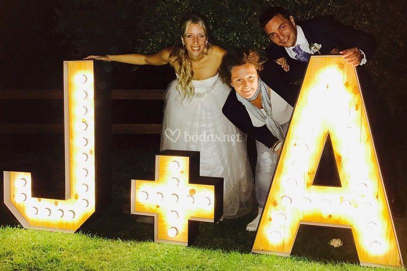 Alquiler letras luminosas boda
