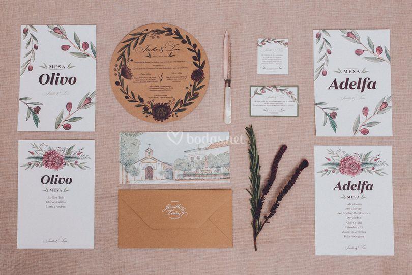 Papelería boda en el pueblo