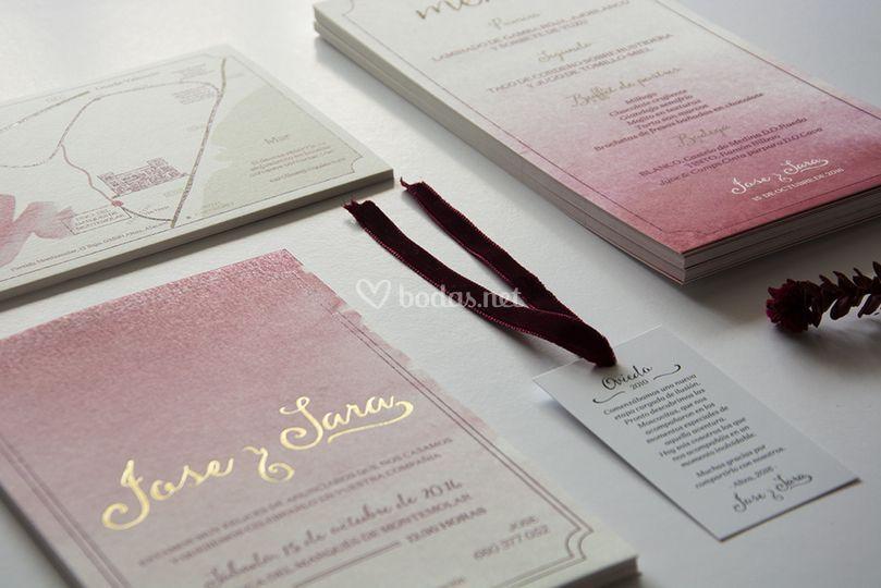 Papelería de bodas en rosa