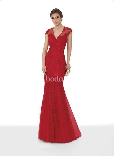 vestido corte sirena rojo de giancarlo novias   foto 3