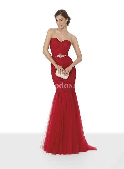 vestido corte sirena rojo de giancarlo novias | foto 4