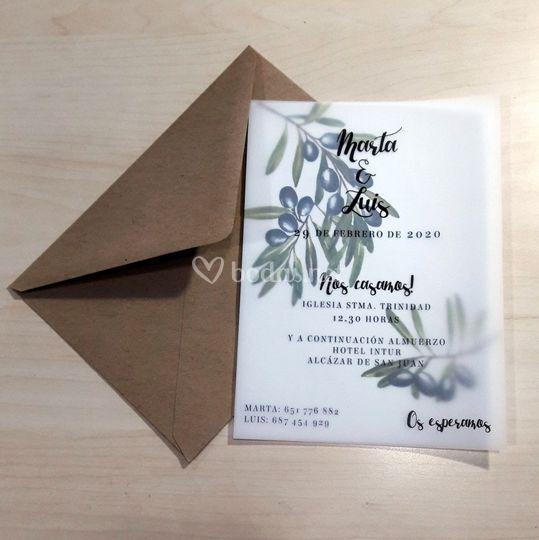 Invitación 13x18 vergetal+verj
