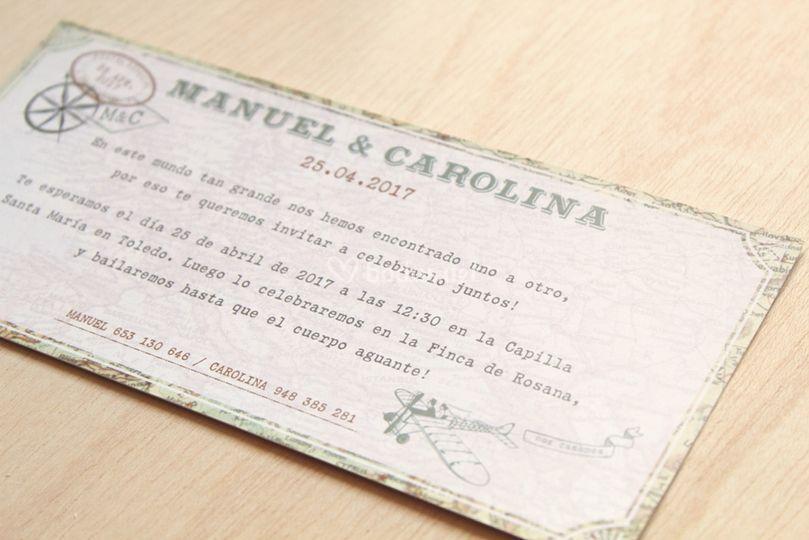 Invitaciones viaje vintage