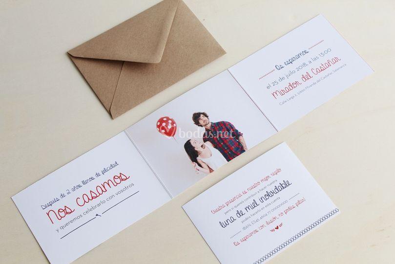 Invitaciones dobladas con foto