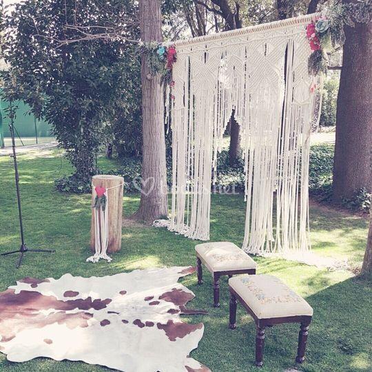 Decoración altar boda