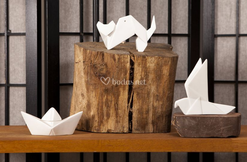 Origamis de porcelana
