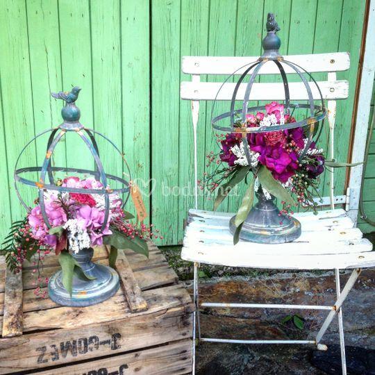 Esferas hierro con flores