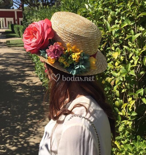 Canotier de flores preservadas