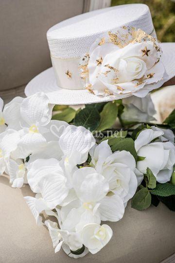 Canotier blanco novias